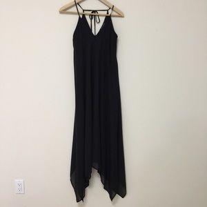Revamped black sheer spaghetti strip dress